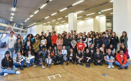 2020-02-01 Masterclass with Scale Rule and members from six different Saturday Clubs, held at the Tate Exchange, Blavatnik Building, Tate Modern, London. Club members studied selected artworks and then drew inspiration from them when creating their own structures, using bamboo and yarn. Photo © Magnus Andersson www.magnus-andersson.com